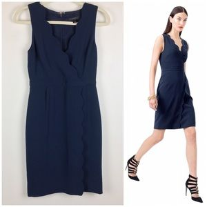 J. Crew | Navy Blue Scalloped Crepe Dress
